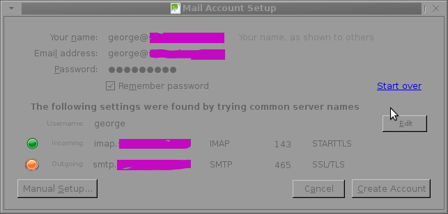 Thunderbird new Mail account setup auto config warning SMTP not OK