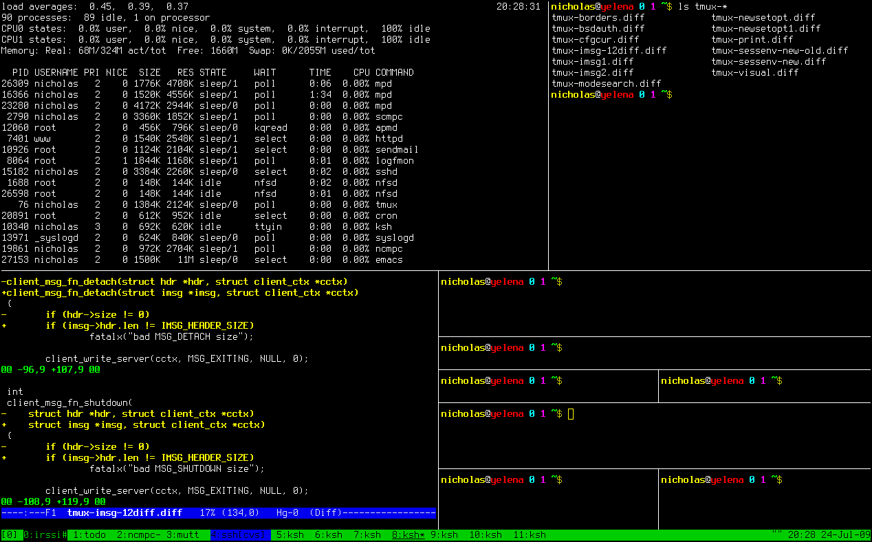 tmux screenshot with shared multiple wins