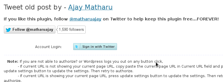Tweet-Old-Post sign in with twitter wordpress screenshot