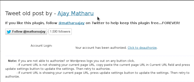 Tweet-old-post twitter authorized post wordpress screenshot