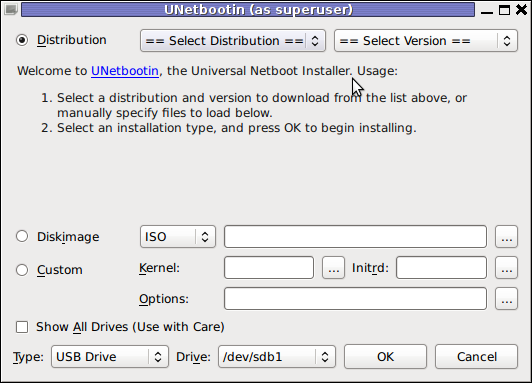 Unetbootin Universal GNU / Linux and FreeBSD USB installer