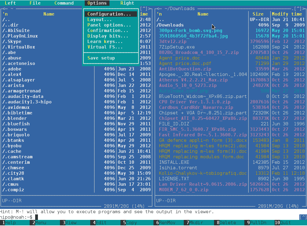 unix terminal file manager midnight commander configuration menu screenshot