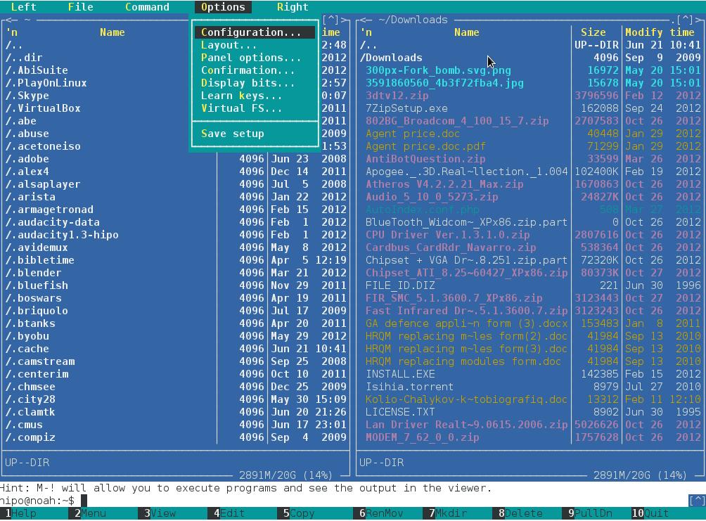 unix terminal file manager midnight commander configuration menu screenshot