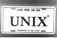 Unix Live Free or die Bell labs early UNIX logo