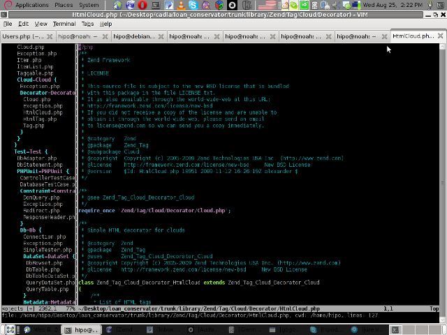 vim project successful loaded project screen