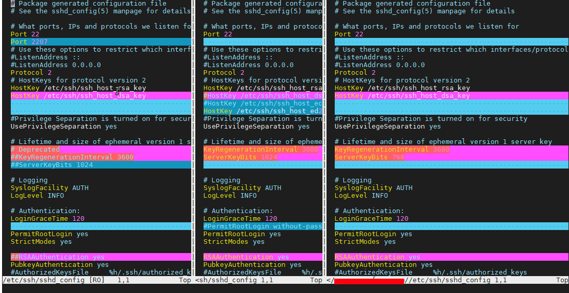 vimdiff-with-3-servers-comparing-sshd-config-file
