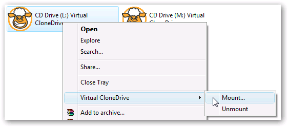 Virtual Clone Drive Windows 7 mount drive open iso files