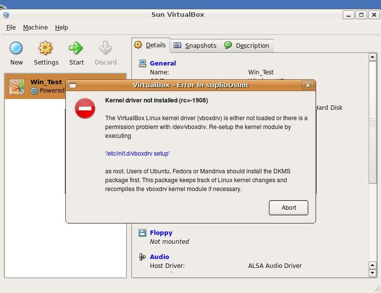 VirtualBox vboxdrv not loaded error Ubuntu Screen