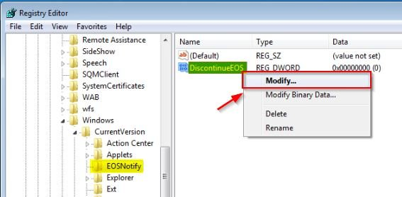 windows-7-disable-pc-is-out-of-support-popup-discontinueEOS-registry-modify