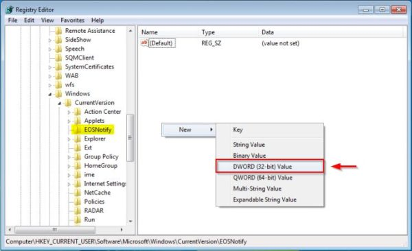 windows-7-disable-pc-is-out-of-support-popup-eosnotify-dword-registry-03-600x366