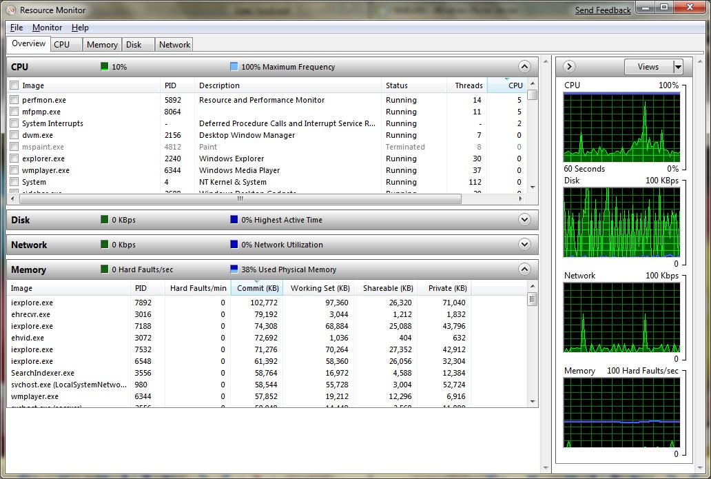 microsoft windows 7 resource monitor screenshot