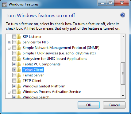 windows 7 windows features on and off enable telnet tickset