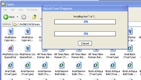 Windows XP install new fonts in Windows\fonts progress dialog