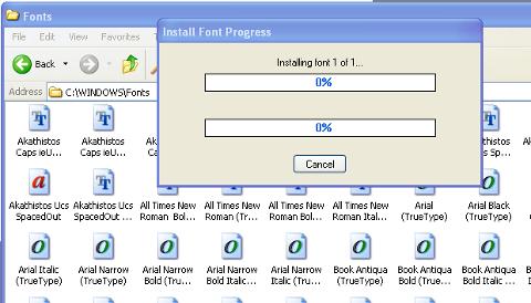 Windows XP install new fonts in Windows\fonts progress dialog