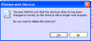 windows error problem with shortcut the item 689342.exe refers has been changed or moved