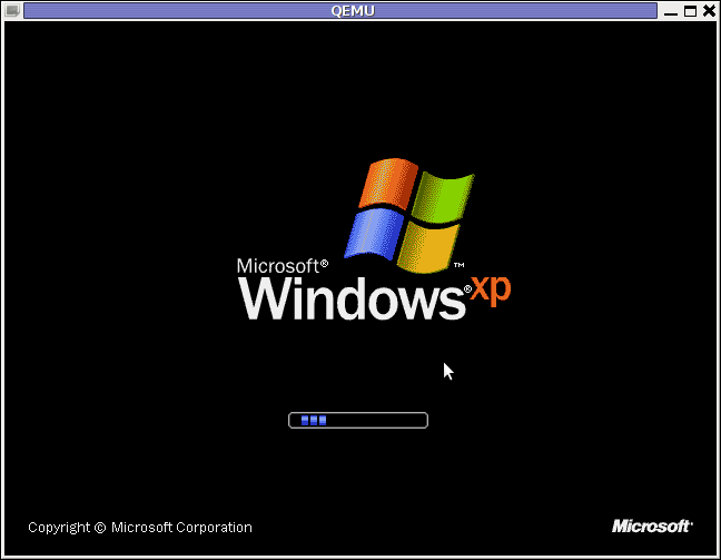Windows XP Service Pack 3 QEMU Debian Squeeze