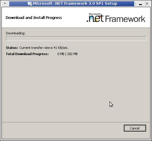 Linux Wine Microsoft dotnet SP1 installing in process
