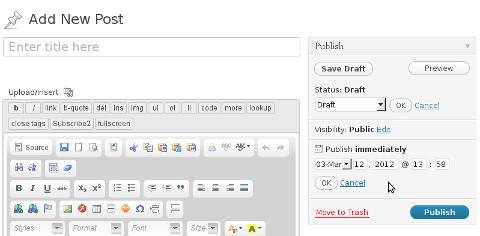 What is wordpress wp-cron.php, Scheduling wordpress post screenshot