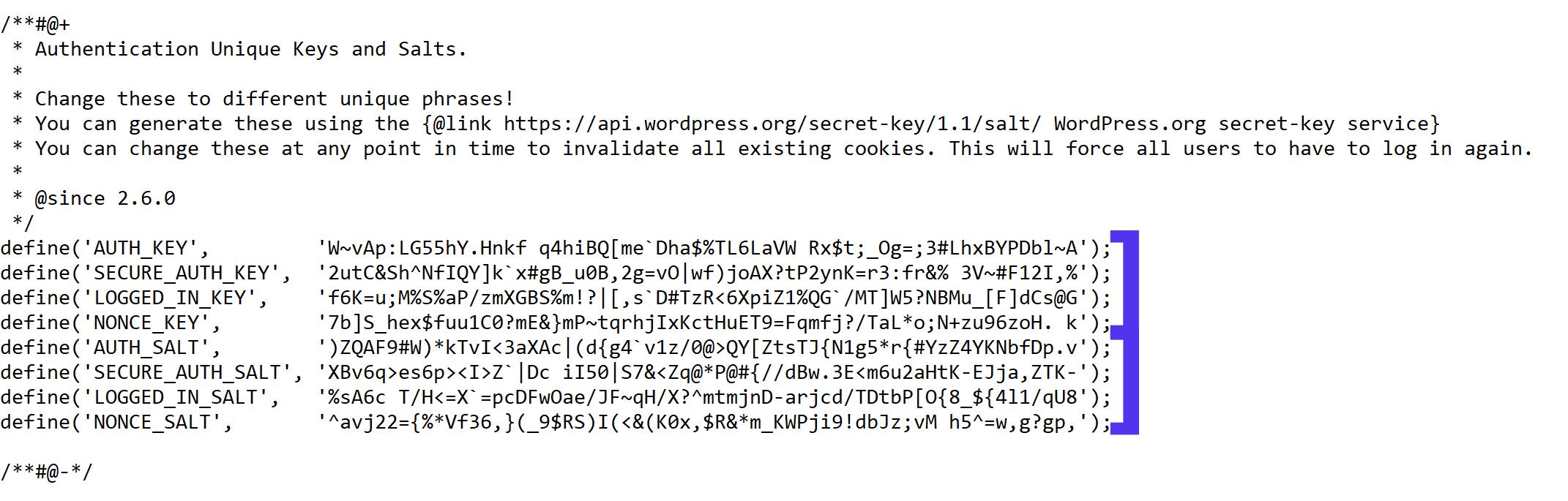 wordpress-website-blog-salts-keys-wp-config-screenshot-linux