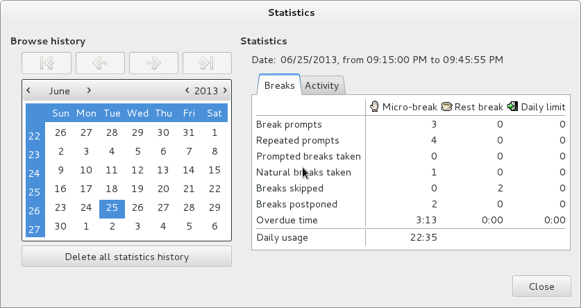 Workrave usage statistics GNU Linux screenshot