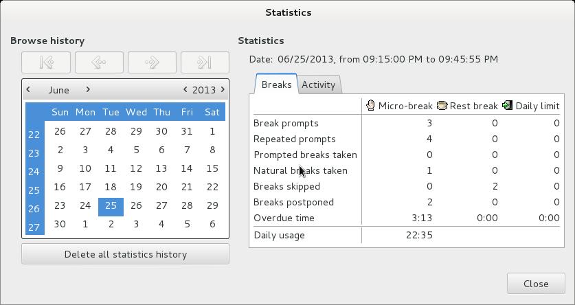 Workrave usage statistics GNU Linux screenshot