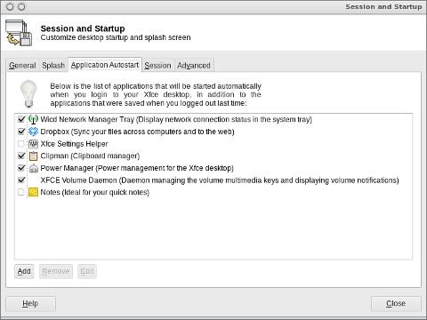 XFce session manager Xubuntu Linux screenshot