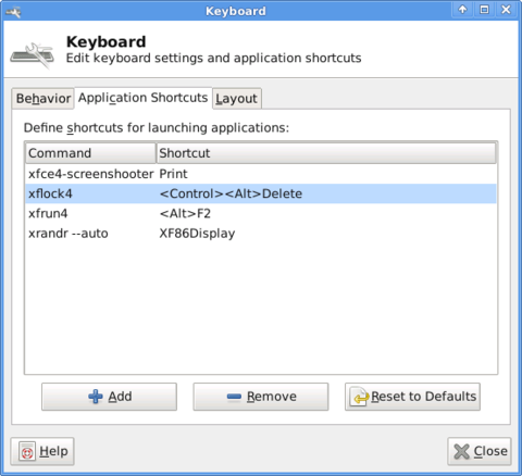 XFCE4 keyboard settings window Slackware Linux screenshot