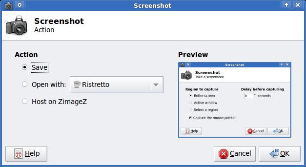 XFCE screenshooter Slackware Linux action Save