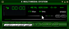 installing xmms on debian squeeze linux playing free software song green skin screenshot