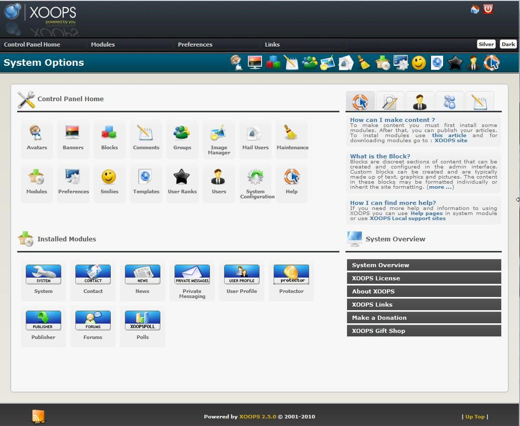 xoops-free-software-social-network-demo-site-admin