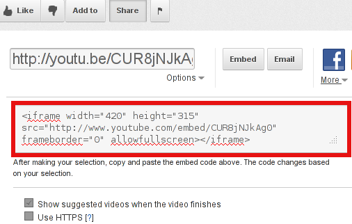 youtube example for random video embed code screenshot with selector