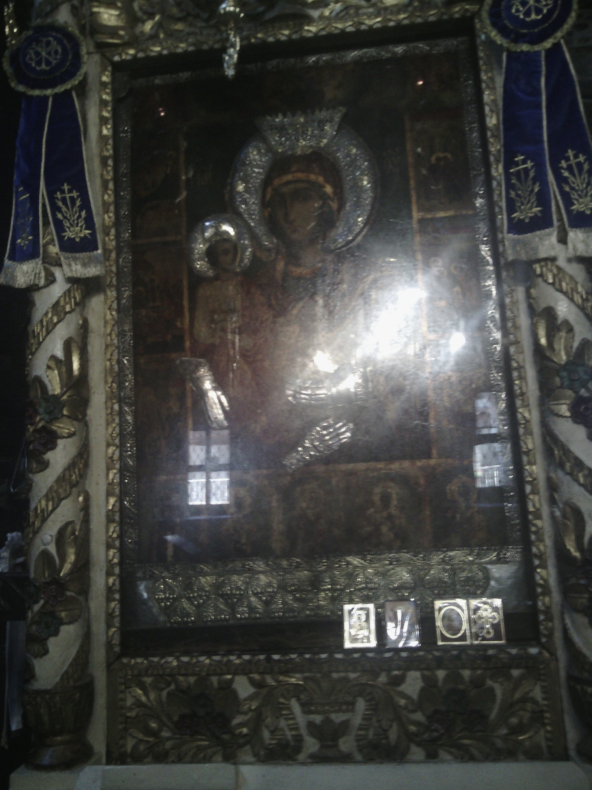 Miracle making icon in Troyan Monastery Holy Virgin (Theotokos) Troeruchica - Tree Handed